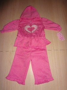 Ellemenno Infant Baby Girl Size 0 3 Months Pink Heart 2 Piece Hoodie