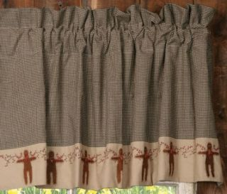 Country Curtain Valance Gingerbread Men Berry Vine Black Check