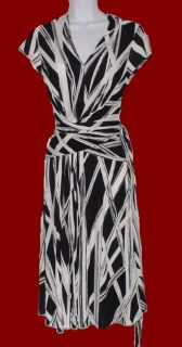 David Meister Black White Rayon Knit Wrap Waist Dress Sz s Cap Sleeve