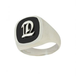 Mens 0 925 Brushed Sterling Silver Black Onyx Initial Solid Back Ring