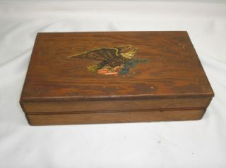 Antique US Army Soldier Keepsake Mens Wood Dresser Box Personalized