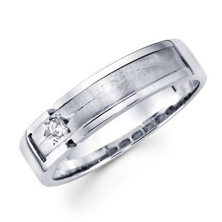 14k White Gold Mens Round Diamond Wedding Band Ring