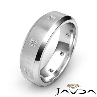 Princess Diamond Men Solid Eternity Ring Brushed Wedding Band Platinum