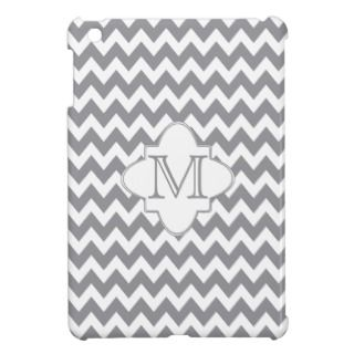 Chevron Quatrefoil Monogram   Gray White iPad Mini Cases