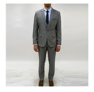 New Mens Slim fit 1 Button style wool Gray Suits US 34R S625  with