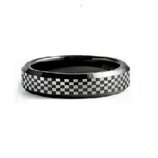 Envyj Tungsten Carbide Men 6mm Black Wedding Band Ring NV01A Size 9 10