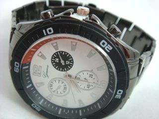 Mens Diver Metal Band Black White Red Chronograph Geneva Watch