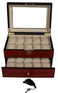 Rosewood Watch Jewelry Display Case Collector Box Mens Gift