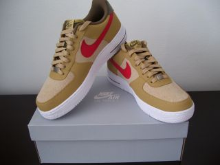 Mens Nike Air Force 1 Low Basketball Shoes 488298 701 Jersey Gold Red