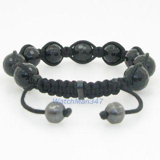 Mens Beaded Bracelet Crystal Disco Ball Bead Pave Macrame SB1D