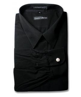 Mens Black Dress Shirt w Convertible Cuffs Sz 19 36 37