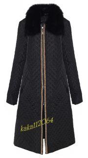 Ladies 422 Fox Fur Collar Noble Chain Zipper Long Coat Jacket Black Sz