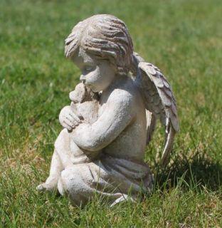 Angel w Dog Puppy Pet Memorial Statue Garden Decor