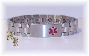 Stainless Steel Wider Width Medical Style Magnetic Bracelet