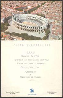 Air France Airlines, Year 1957 Menu & Postcard. Paris   Buenos Aires