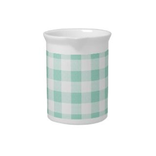 Buffalo Check Plaid Pattern   Mint White Beverage Pitcher