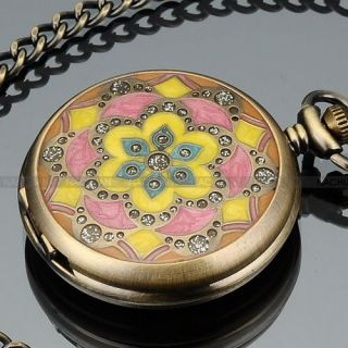 Pocket Quartz Watch Necklace Lady Men Jewelry Chain Gift Box