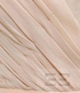 Mendel Peach Silk Chiffon Beaded Belt Draped Evening Gown Size 6