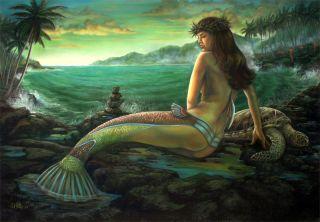 Fantasy Art Giclee Print Olivine 9th in the vintage mermaids series