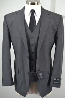 New Frenzi Uomo Mens Charcoal Grey 3 Piece Suit Blazer Vest Pants 38R