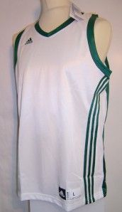 Adidas Mens Basketball Vest Tank Top Club Jersey White Green Size L XL