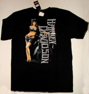 Harley Davidson Mens Black Long Lady Adult Tee Shirt NIB
