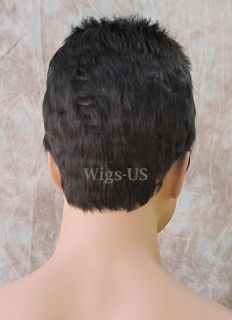 Medium Dark Brown Spiky Top Short Sides Mens Style Man Wigs