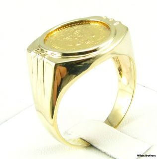 Mexican Peso Bullion Coin Mens Ring 14k 22K Gold