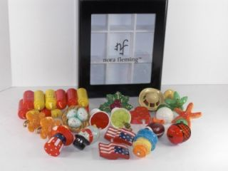 24 Nora Fleming Minis & Keepsake Box Cake Grill Starfish Heart Snowman
