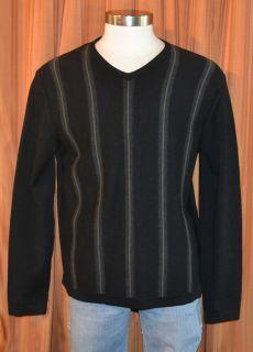 Black Green Gray Stripe Merino Wool V Neck Sweater Mens Large