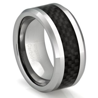 Mens Tungsten Ring Wedding Band Black Carbon Fiber Jewelry 2016 10mm W