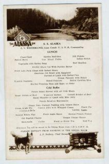 SS Alaska Menu Alaska Line 1932 MT McKinley Husky Dogs