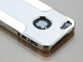 Silver Aluminum Brushed Metal Chrome Case Cover For iPhone 5 + Stylus