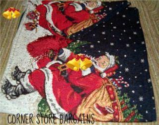 Santa Merry Christmas Trees Tapestry Table Runner