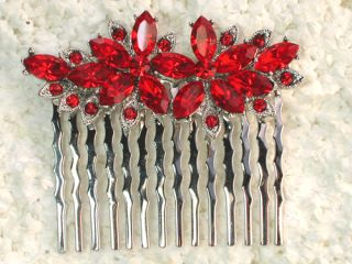 Red Rhinestone Crystal Hair Comb Bridesmaid Flower Girl Bridal Wedding