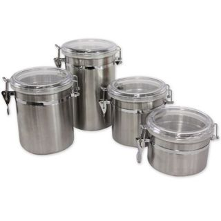 Piece Stainless Steel Canister Set w Clear Flip Tops Kitchen Counter