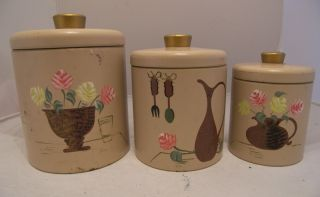 Vintage Metal Kitchen Canister Set HP Ransburg 1960S