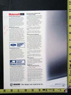 Original 1986 Ford Mercury Topaz Showroom Car Brochure