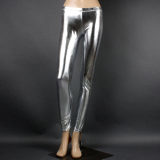Metallic Silver Shiny Foil Wet Look Liquid Stretch Full Length