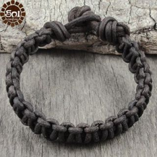 Mens Leather Bracelet Brown Cord Knotted Cuff Surfer Earthy Eco Surf