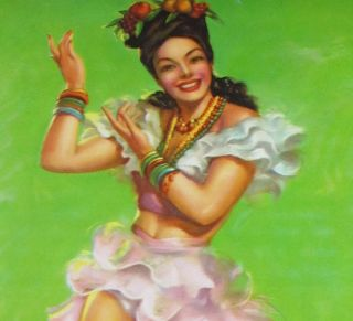 Incredible Vintage Art Deco Gorgeous Mexican Glamour Girl Pin Up