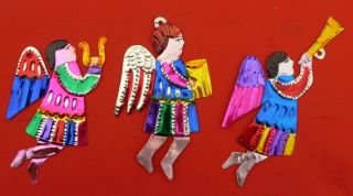 Handcut Painted Mexican Angels Christmas Tree Decorations Gorgeous