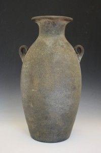 C1930s Italian Murano Archaic Roman Amphora Style Tall Glass Vase Hand