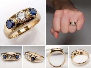 Vintage Mens Genuine Diamond Blue Sapphire Wedding Band Ring Solid 14k