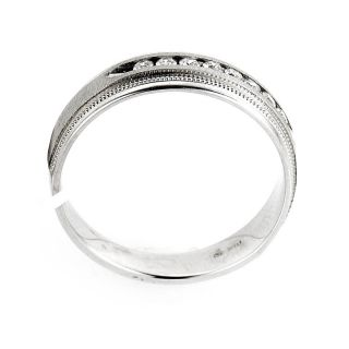 Mens 14k White Gold Diamond Wedding or Anniversary Band
