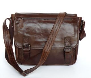 Vintage Leather Dark Brown Messenger Bag Shoulder Bag New
