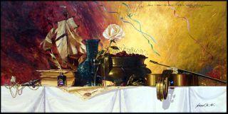 Michael Gorban Single White Rose Signed #ed Giclee on Canvas vase