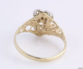 Diamond Initial C Ring 14k White Yellow Solid Gold Fine Estate Letter