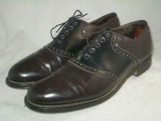 Mens Vintage Bostonians Saddle Golf Shoes Oxblood Black Full Leather