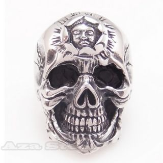 Mens Huge Silver Horror Skull Biker Stainless Steel Ring Size 10 11 12